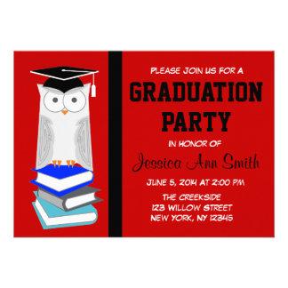 Red/Black Owl Graduation Announcement
