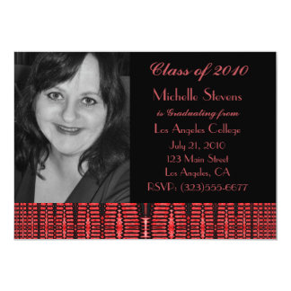 red black pattern 13 cm x 18 cm invitation card