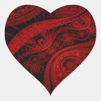Red & Black Patterned Heart Sticker