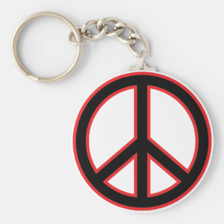 Red & Black Peace Symbol Keychains