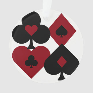 Red & Black Poker Card Deck Suits Ornament
