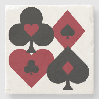 Red & Black Poker Card Deck Suits Stone Coaster