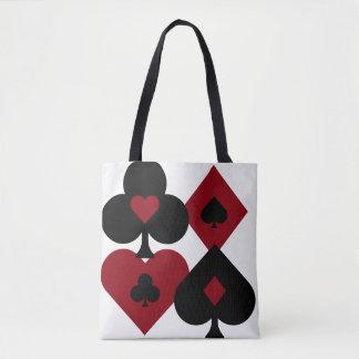 Red & Black Poker Card Deck Suits Tote Bag