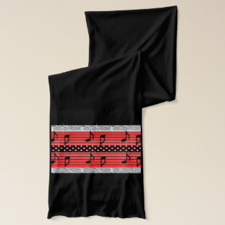 Red & Black Polka Dot Diamonds & Musical Notes Scarf