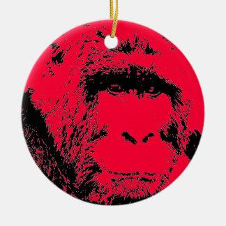 Red Black Pop Art Gorilla Christmas Ornament