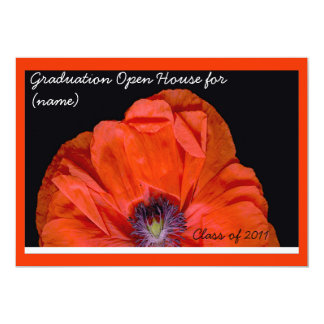 "Red - Black Poppy Graduation 5"" X 7"" Invitation Card"