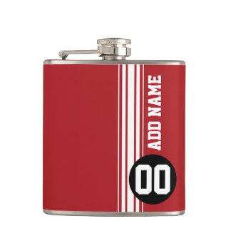 Red Black Racing Stripes Custom Name Number Hip Flask