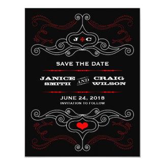 Red & Black Rock 'n' Roll Music Themed Wedding 11 Cm X 14 Cm Invitation Card