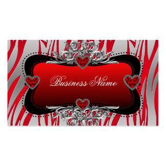 Red Black Silver Diamond Hearts Zebra Business Business Cards