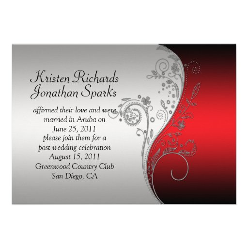 Red Black Silver Floral Swirls Post Wedding Personalized Invitation