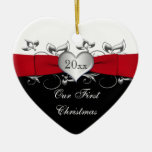 Red, Black, Silver Our First Christmas Ornament