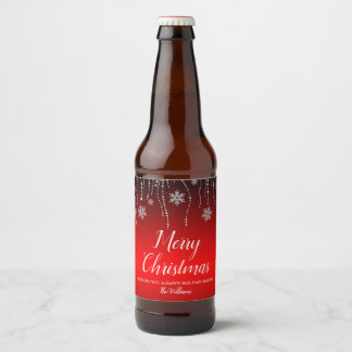 Red Black Sparkle Snowflakes Christmas Beer Bottle Label