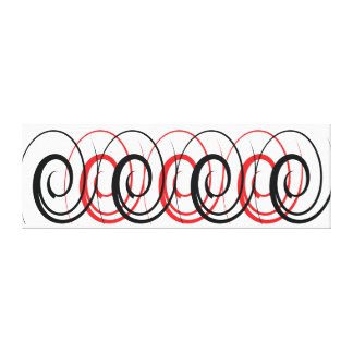 Red & Black Spiral Canvas Stretched Canvas Print