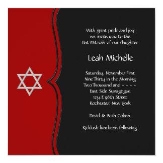 Red Black Star of David Bat Mitzvah 13 Cm X 13 Cm Square Invitation Card