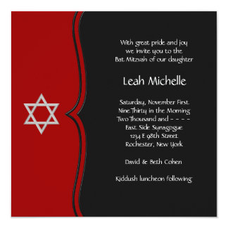Red Black Star of David Bat Mitzvah Card