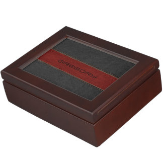 Red & Black Stitched Leather Texture Print Keepsake Box