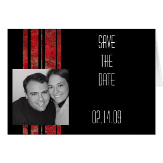 Red & Black Stripe Photo Save the Date Card