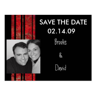 Red & Black Stripe Photo Save the Date Postcard