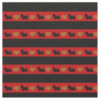 Red, black stripe, Scottish Terrier heart Fabric