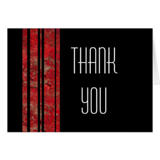 Red & Black Stripe Thank You Note Card