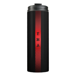 Red Black Stripe Thermal Tumbler