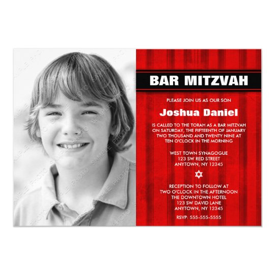 Red Black Stripes Photo Bar Mitzvah Invitations