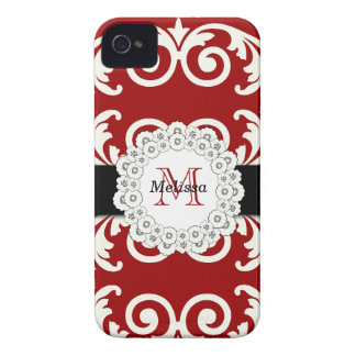 Red Black Swirls Floral iPhone 4 Case-Mate Case-Mate iPhone 4 Case