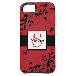 Red Black Swirls Initial iPhone 5 Case