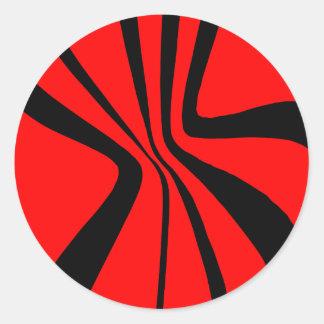 Red Black Swirls Modern Colors Pattern Classic Round Sticker