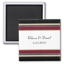 Red Black Tan Stripes Save The Date Magnet