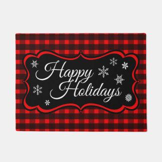 Red Black Tartan Happy Holidays Doormat