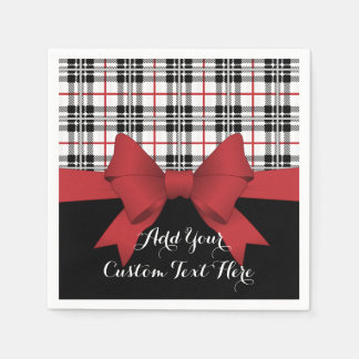 Red Black Tartan Plaid and Ribbon Cute Kids Party Paper Serviettes