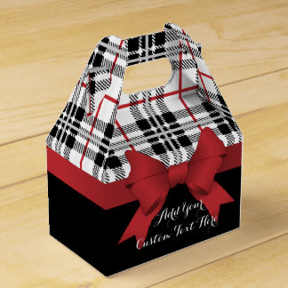 Red Black Tartan Plaid and Ribbon Cute Party Favour Box