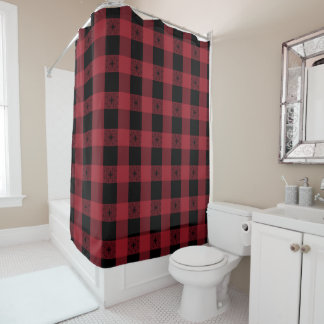Red Black Tartan Styled Shower Curtain