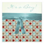 Red Black Teal Blue Brown Star Boys Baby Shower Invitation