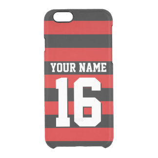 Red Black Team Jersey Preppy Stripe Clear iPhone 6/6S Case