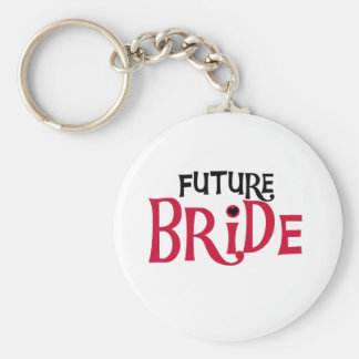 Red/Black Text Future Bride Key Chains