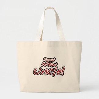 Red/Black Text Proud New Uncle Jumbo Tote Bag