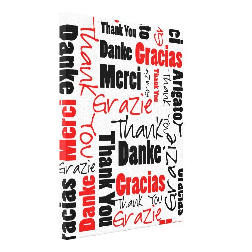 Red Black Thank You Word Cloud Gallery Wrapped Canvas