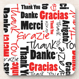Red Black Thank You Word Cloud Coaster