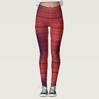 red&black tribal aztec pattern leggings
