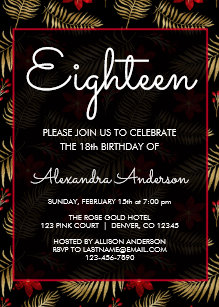 Red Black Tropical Leaf 18th Birthday Party Invitation