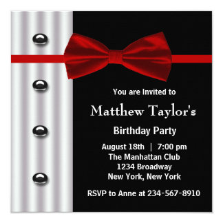 Red Black Tuxedo Bow Tie Mens Birthday Party Card