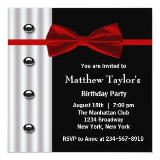 Red Black Tuxedo Bow Tie Mens Birthday Party Invit Personalized Invitation