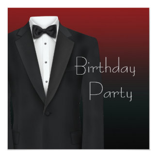 Red Black Tuxedo Mans Birthday Party Invitations