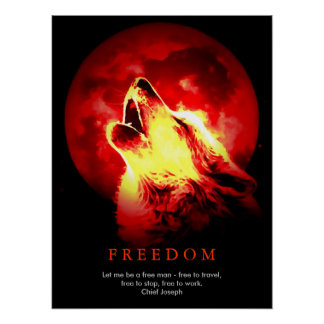 Red Black Unique Motivational Wolf Howls Print