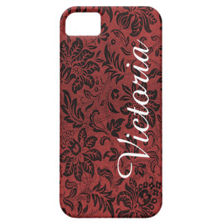 Red Black Victorian Flower Pattern Barely There iPhone 5 Case