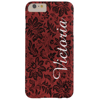 Red Black Victorian Flower Pattern Barely There iPhone 6 Plus Case