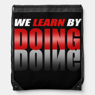 Red|Black We Learn By Doing Drawstring Bag