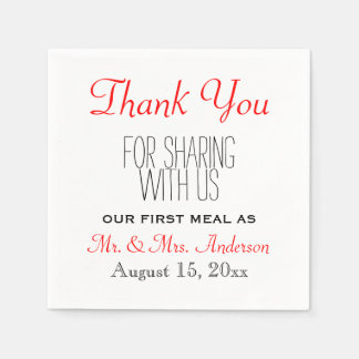 Red Black Wedding Thank You Reception Typography Paper Serviettes